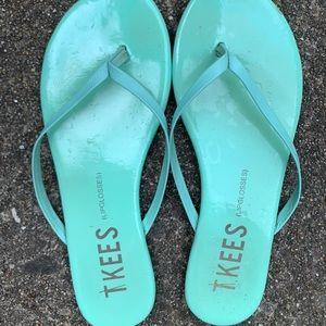 TKEES Mint Patent Leather Flip Flops